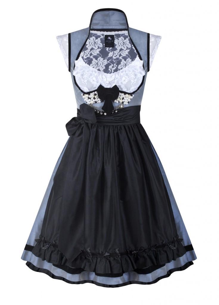 anina w dirndl couture anja grau schwarz mit perlen