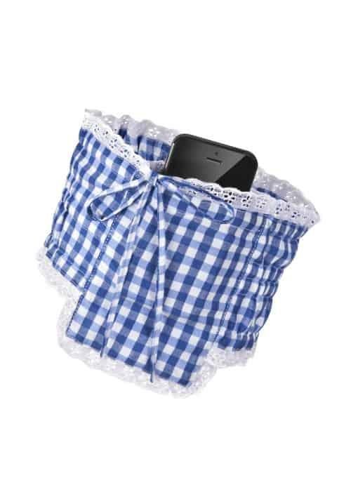 Dirndl Strumpfband Tasche Handy blau weiss
