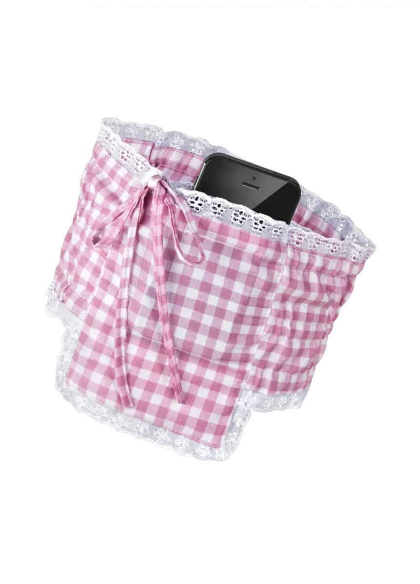 Dirndl Strumpfband Tasche Handy rosa weiss