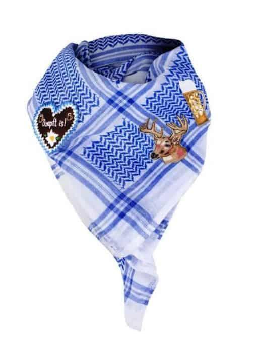 Tuch Schal Wiesn Oktoberfest blau weiss