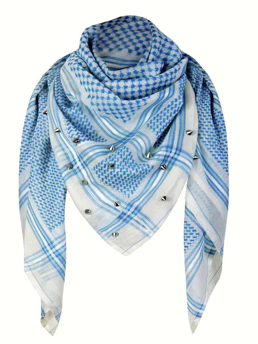 Tuch Schal arabisch hellblau weiss mit Nieten