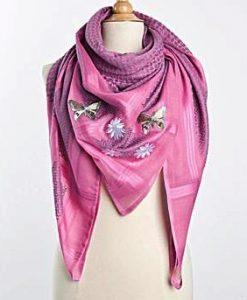 Tuch Schal arabisch rosa mit grau