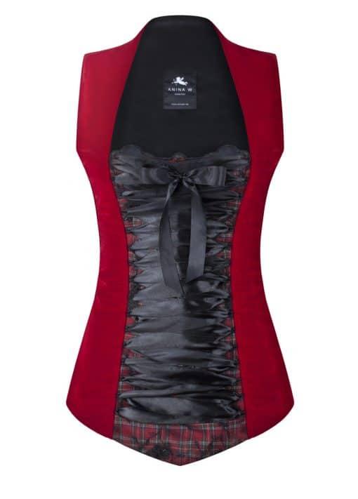 Trachtenmieder Corsage rot schwarz Samt