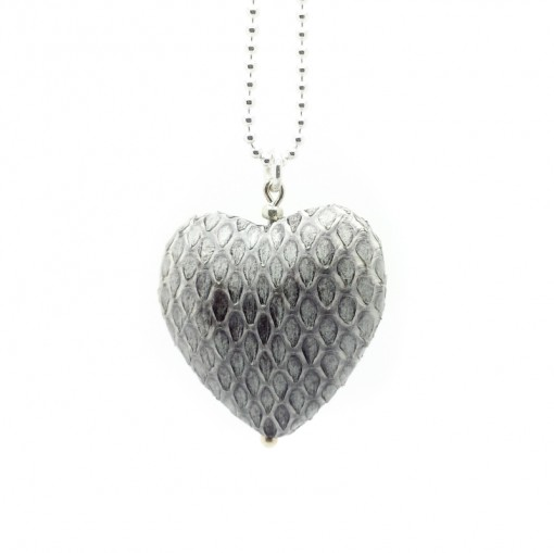 Halskette-Lederherz-Grau