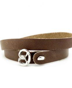 Trachtenschmuck Leder Armband braun Breze