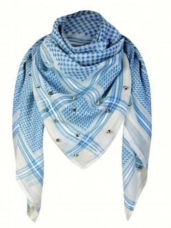 anina w tuch schal arabisch hellblau weiss mit nieten