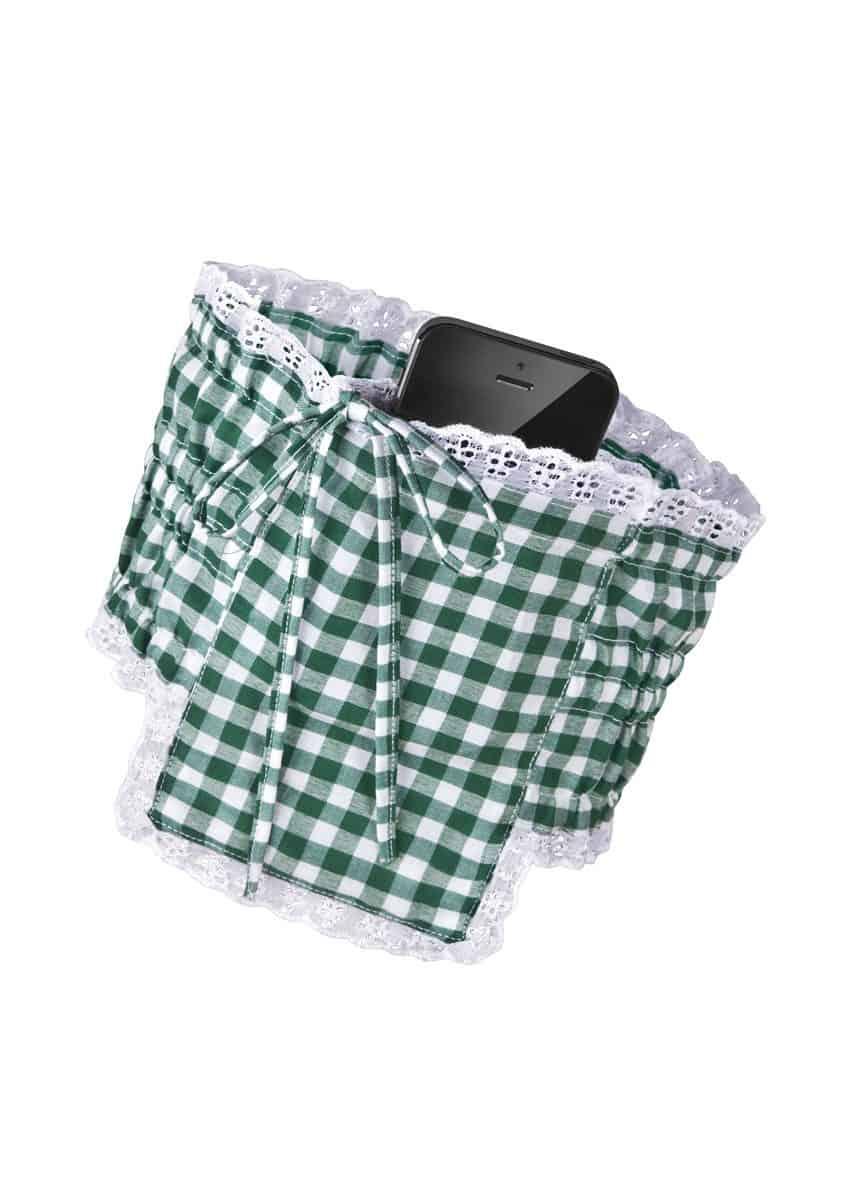 Dirndl Strumpfband Tasche Handy grün weiß