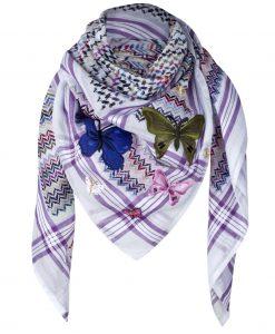 Tuch Schal arabisch weiss lila Schmetterlinge