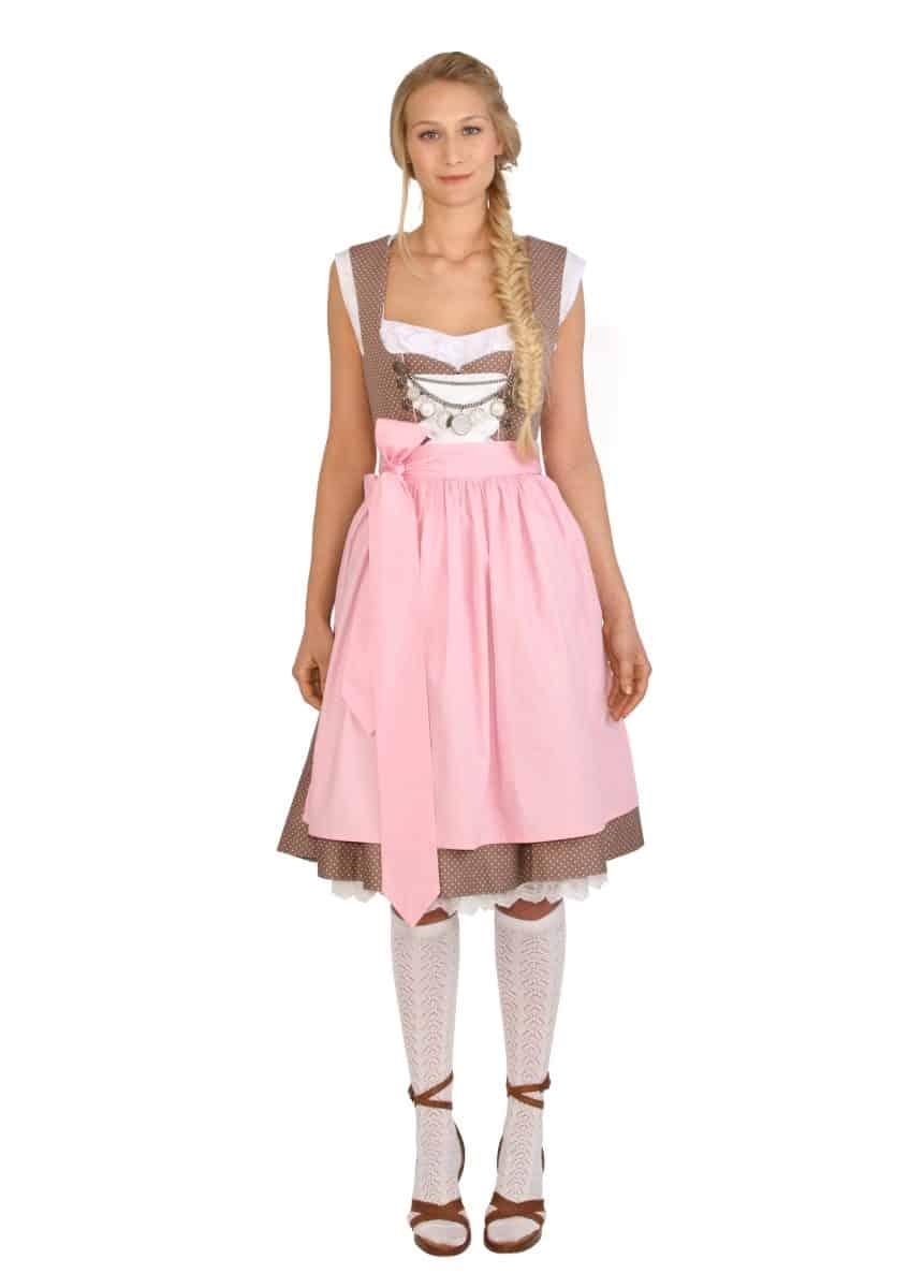 Dirndl Baumwolle Leni braun rosa mit Punkten