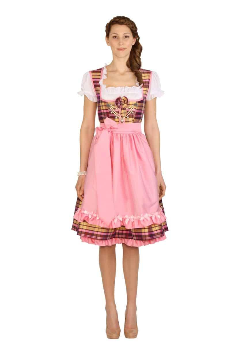 Dirndl Couture Colette beige rosa kariert