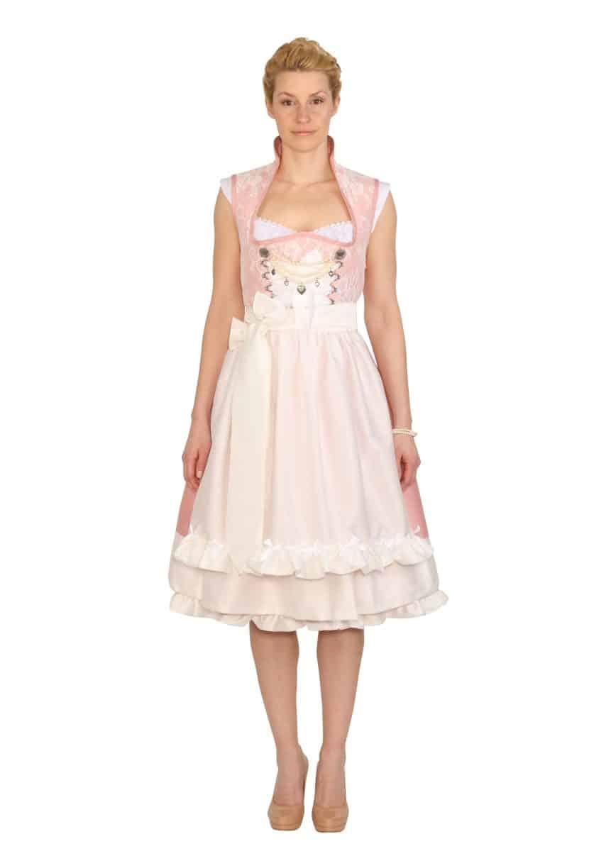 Dirndl Hochzeitsdirndl Anja rosa weiss mit Spitze