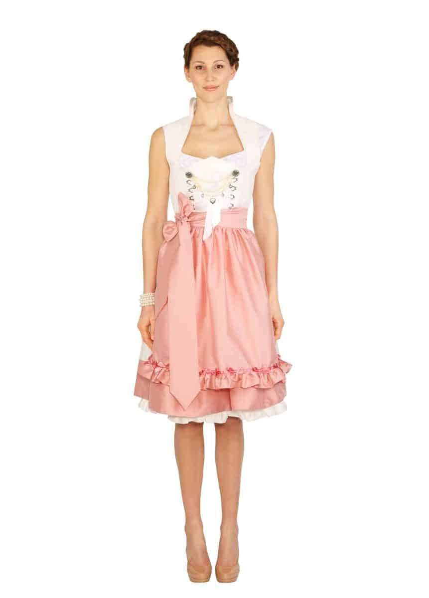 Dirndl Hochzeitsdirnd Anja weiss rosa mit Spitze