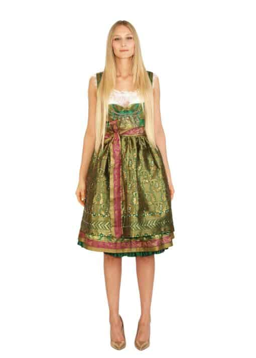 dirndl couture sari antoinette grün gold pink