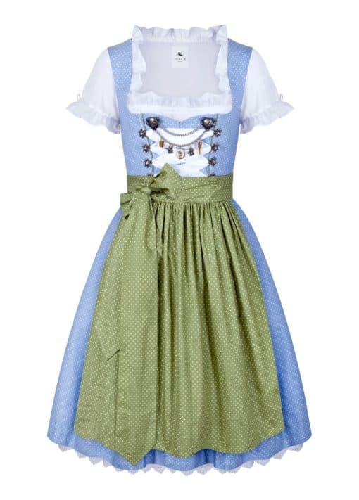 Dirndl Baumwolle Leni hellblau grün mit punkten