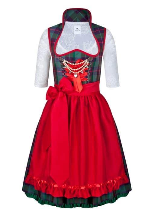 Dirndl Couture Nina grün mit rot kariert