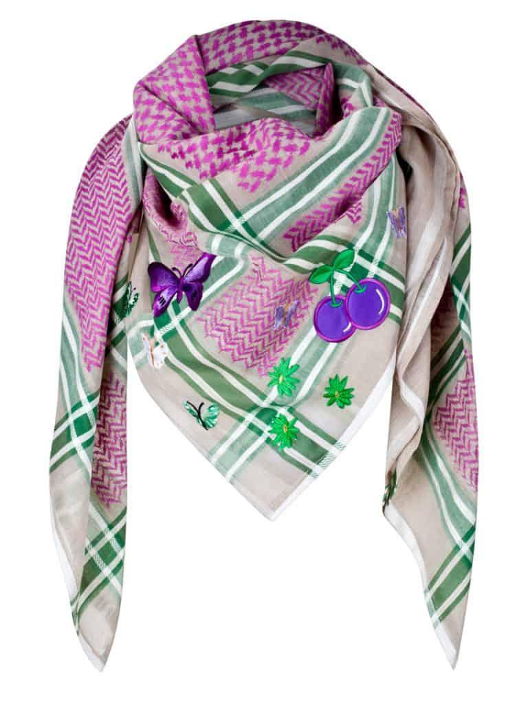 anina w tuch schal arabisch beige mit pink und grün
