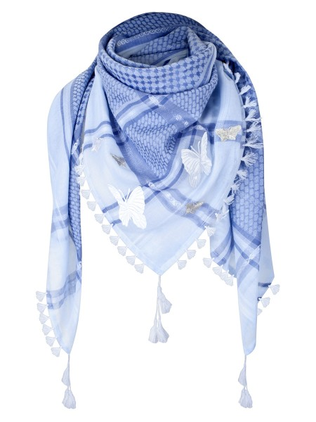 anina w tuch schal arabisch weiss hellblau mit fransen