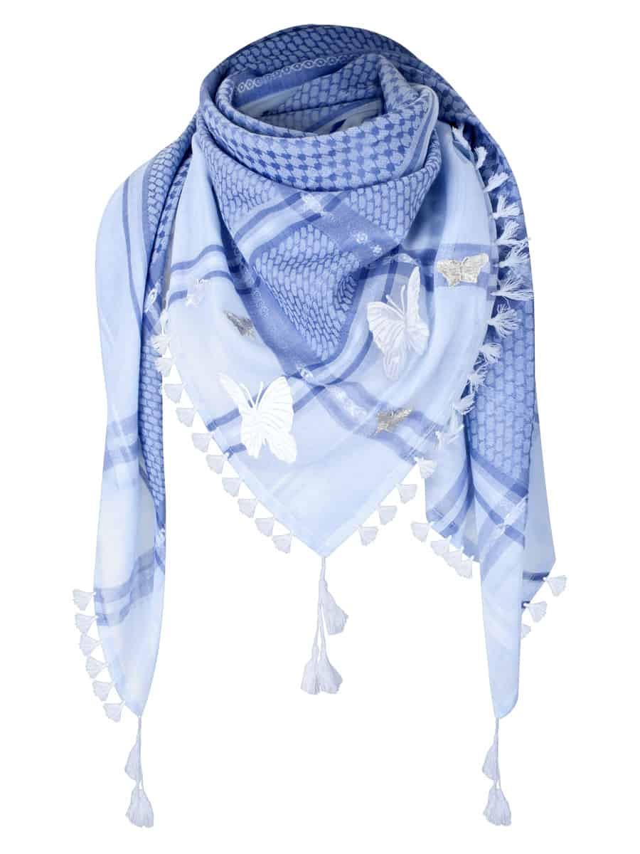 Tuch Schal arabisch weiss hellblau mit fransen