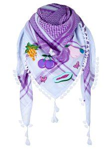 anina w tuch schal arabisch weiss lila mit Fransen