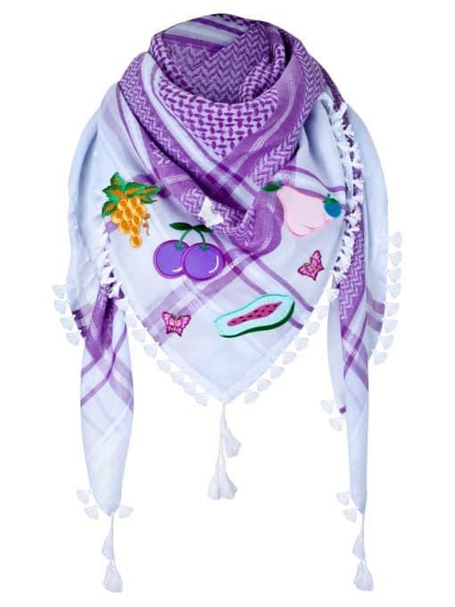 Tuch Schal arabisch weiss lila mit Fransen
