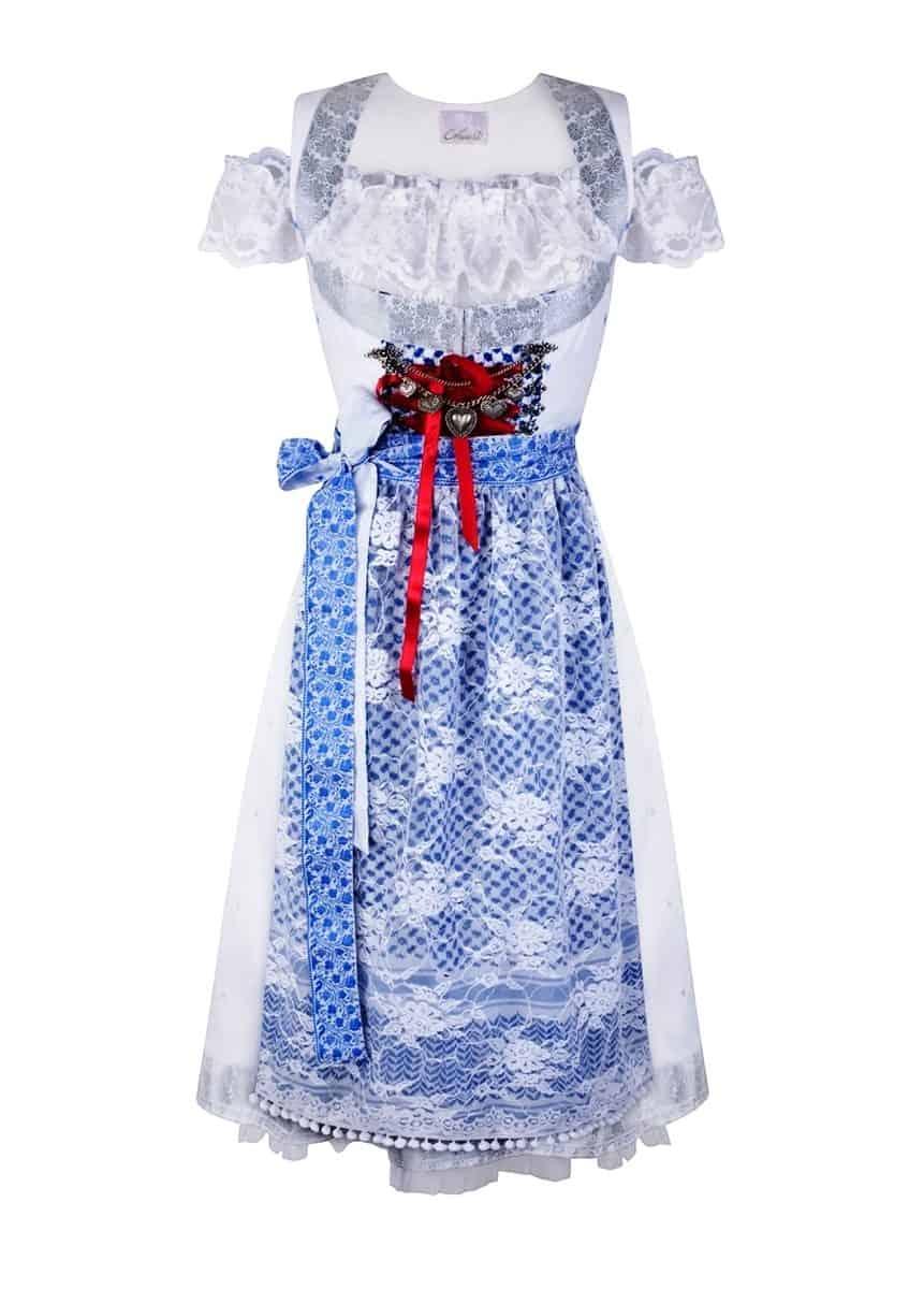 Variante Dirndl Couture Sari weiss blau rot