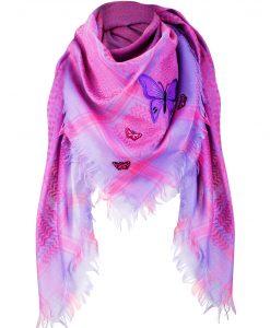 Tuch Schal arabisch pink lila mit Fransen