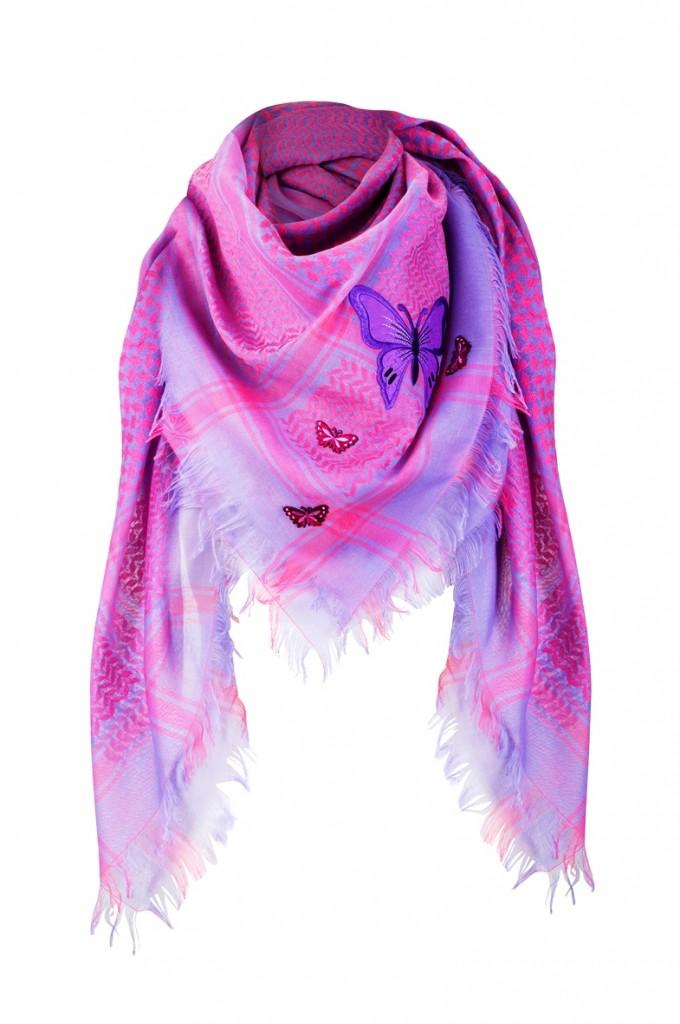 anina w tuch schal arabisch pink lila mit fransen