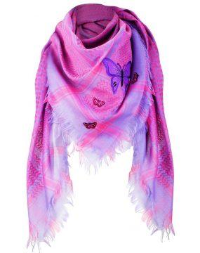Tuch-Schal-arabisch-pink-und-lila-mit-Fransen