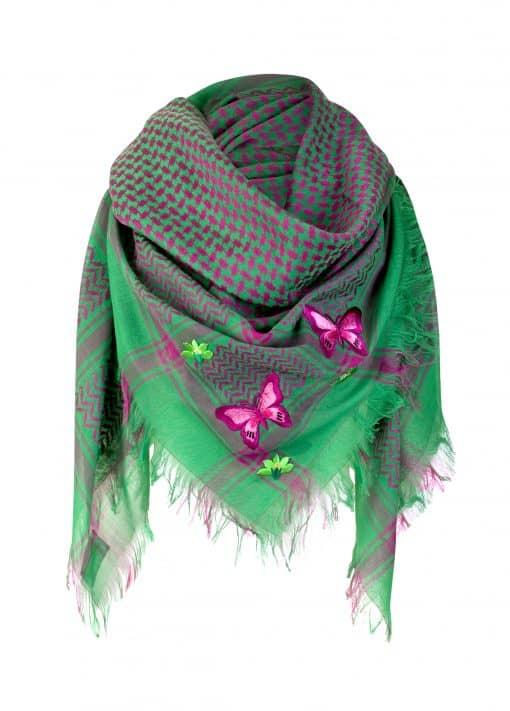 Tuch-Schal-arabisch pink-und-grün-mit-Fransen