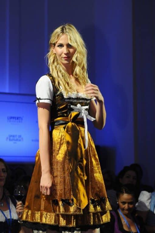 dirndl couture sari spitze gold mit schwarz