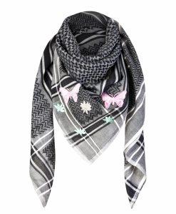 Tuch Schal arabisch schwarz-weiss mit patches