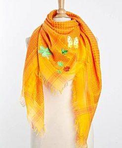 Tuch Schal arabisch gelb und orange mit grün