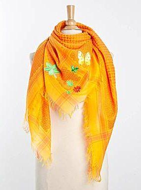 anina w tuch schal arabisch gelb und orange mit gruen
