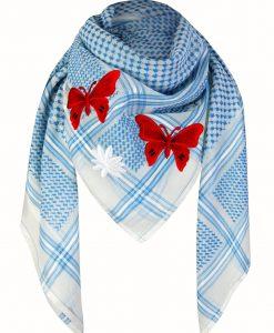 Tuch Schal arabisch weiss mit blau und rot