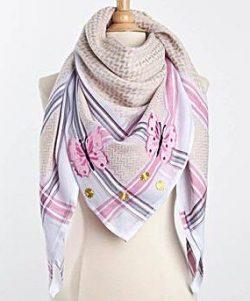 Tuch-Schal-arabisch-rosa-mit-beige-und-grau
