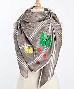 Tuch-Schal-arabisch-hellbraun-mit-bunten-Motiven