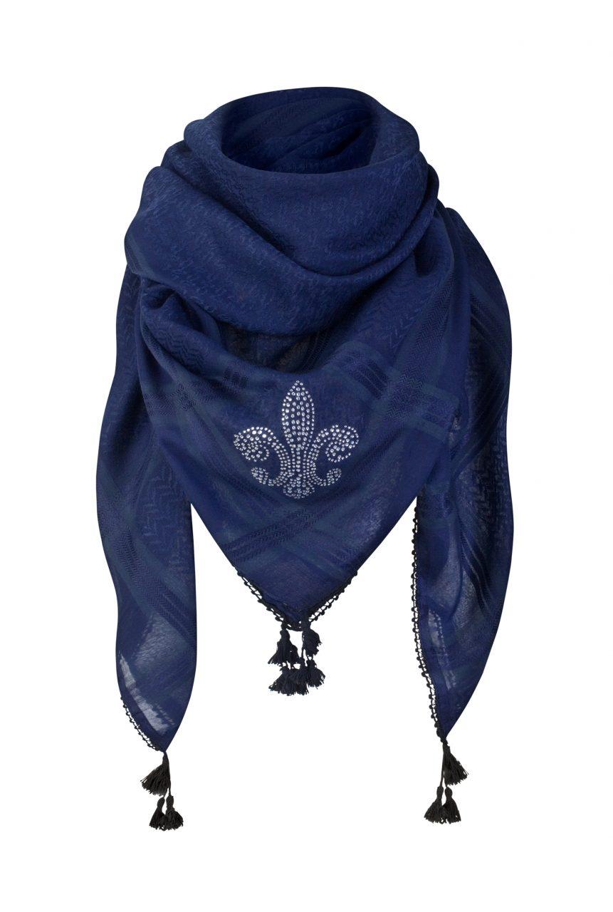 Tuch-Schal-arabisch dunkelblau-silber-mit-Fransen