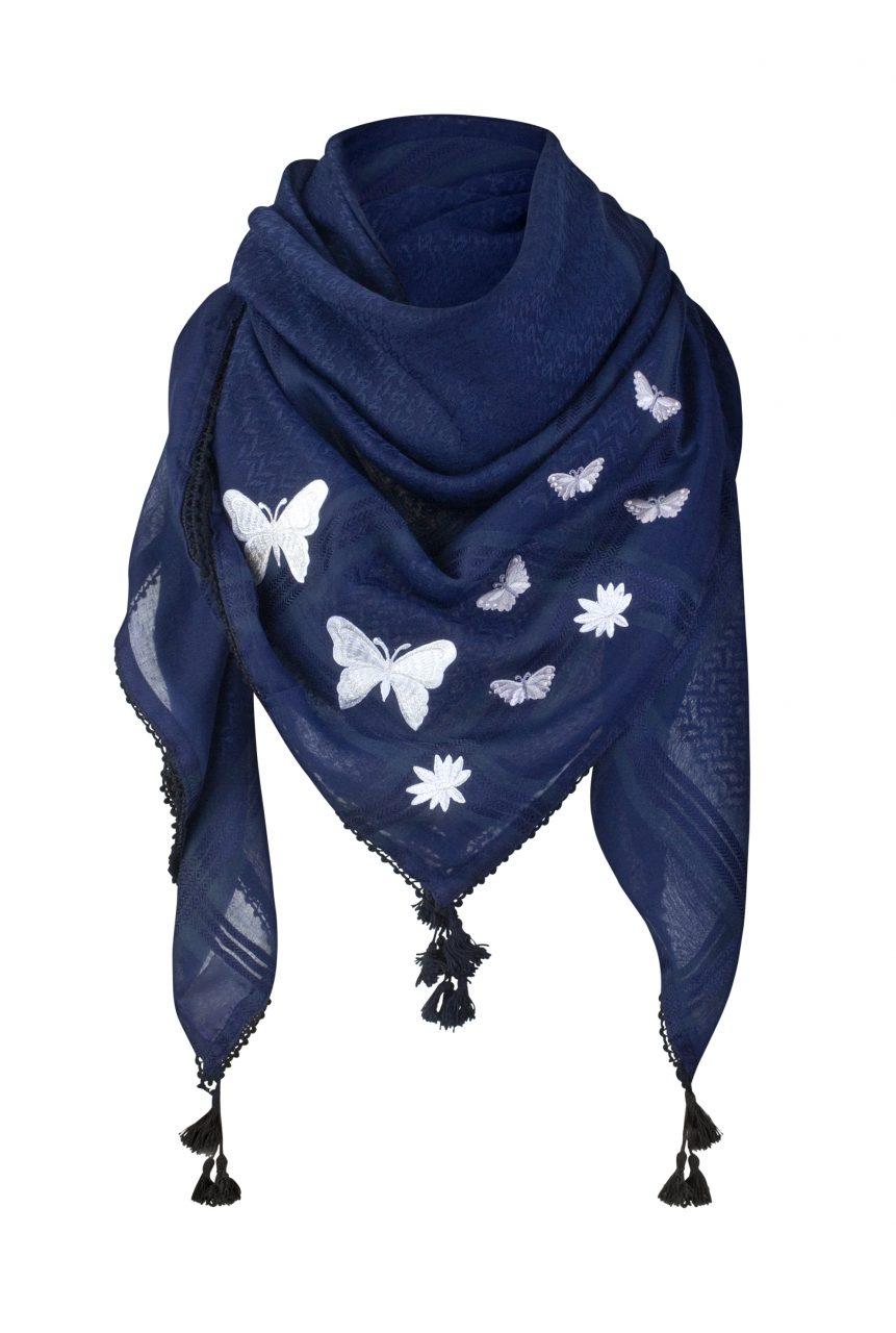 Tuch-Schal-arabisch-dunkelblau-silber-mit-Fransen
