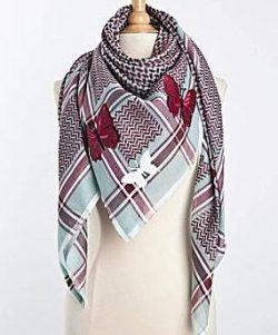 Tuch-Schal-arabisch-tuerkis-mit-dunkelrot-und-weiss