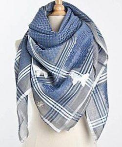 Tuch-Schal-arabisch-grau-mit-blau-und-weiss