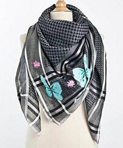 Tuch-Schal-arabisch-schwarz-weiss-mit-patches
