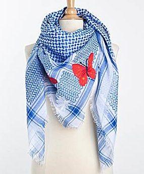 Tuch-Schal-arabisch-weiss-mit-blau-und rot