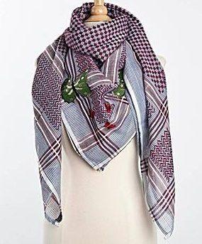 Tuch-Schal-arabisch-graublau-mit-dunkelrot-und-gruen