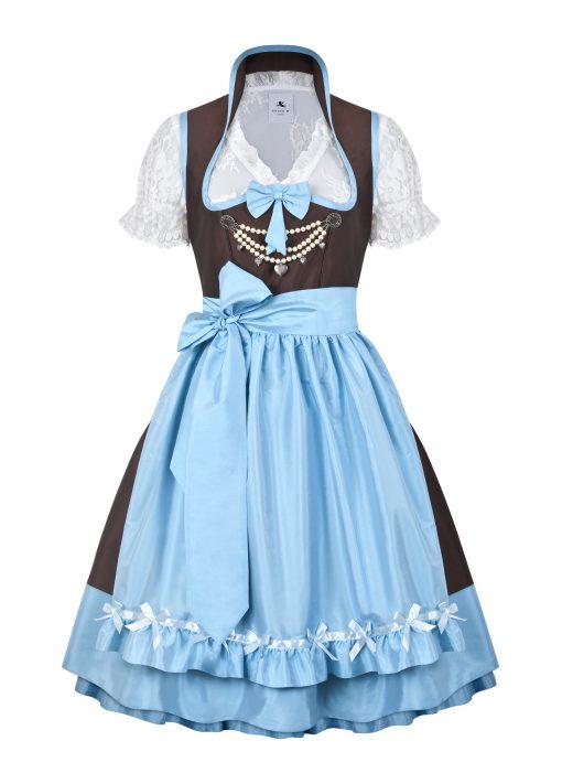 Dirndl Couture Anja braun mit hellblau