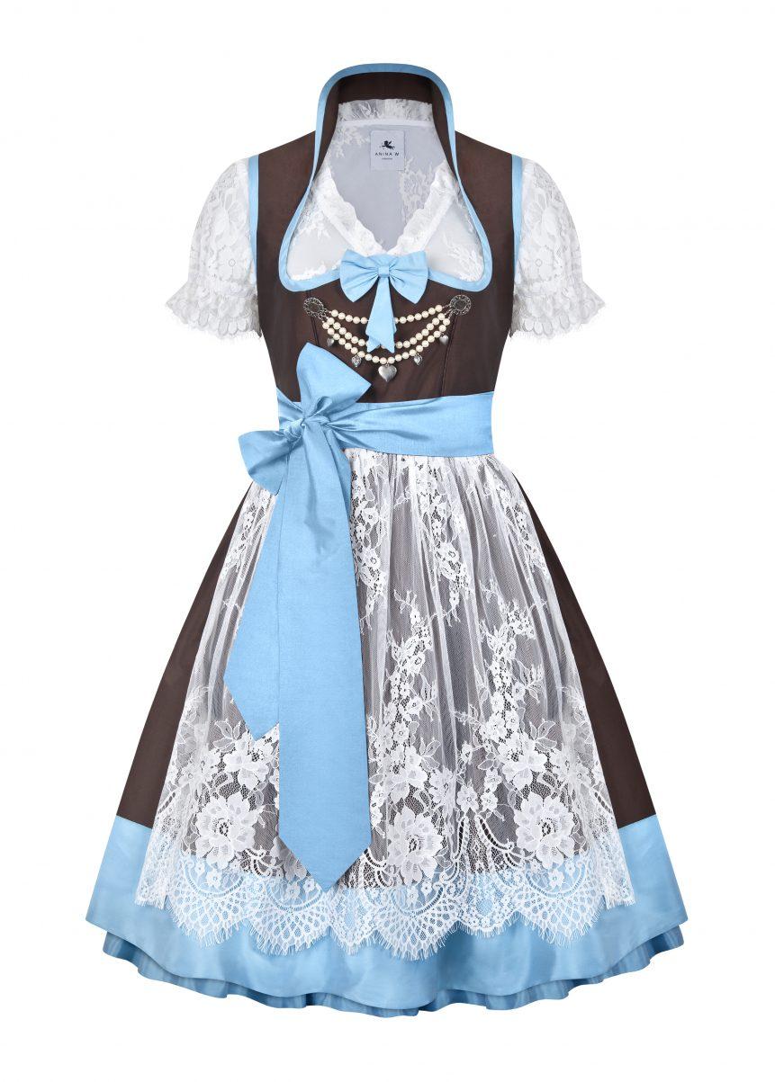 Variante Dirndl Couture Anja braun mit hellblau