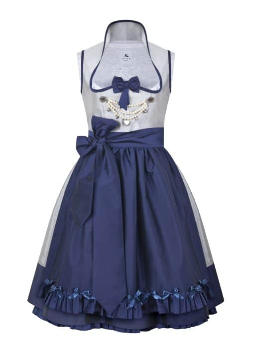Galeriebild Dirndl Couture Anja hellgrau mit dunkelblau